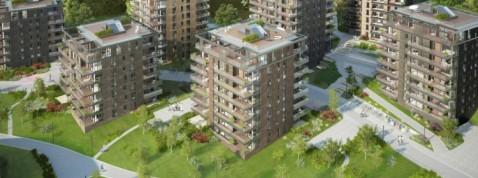 7 bygg med totalt 208 leiligheter